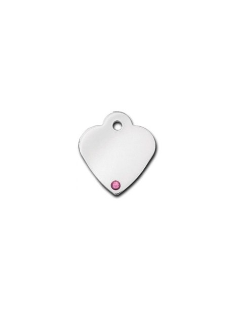 Heart ID Tag Small with pink Tourmaline Stone - October