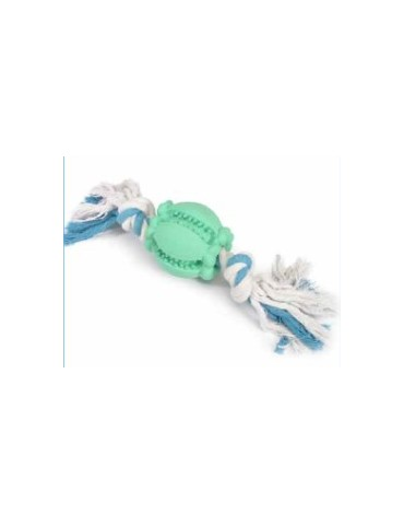 Rubber Toy with Blue and White Rope