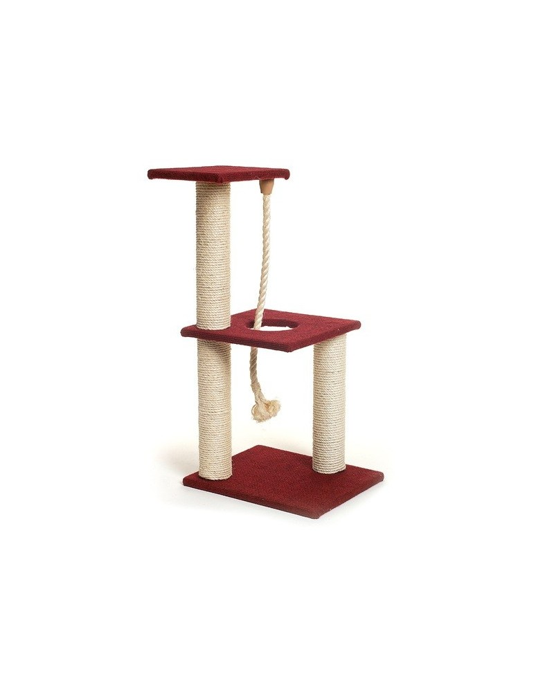 Scratching post with 3 boards and rope