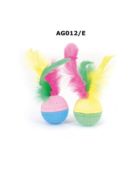 Sponge cat football toy with feather - 6cm