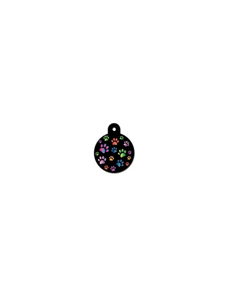 Large Black Circle ID Tag with Paws