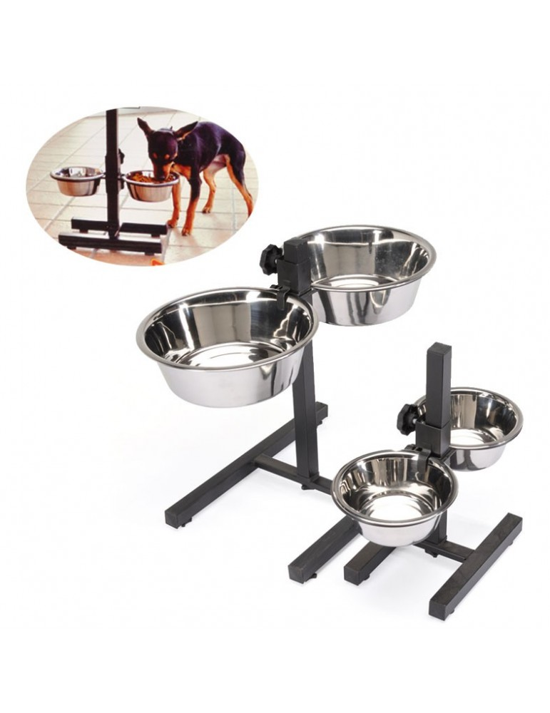 Bowl stand with adjustable height level.