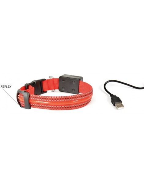 Red Reflective Dog Collar with USB Charging