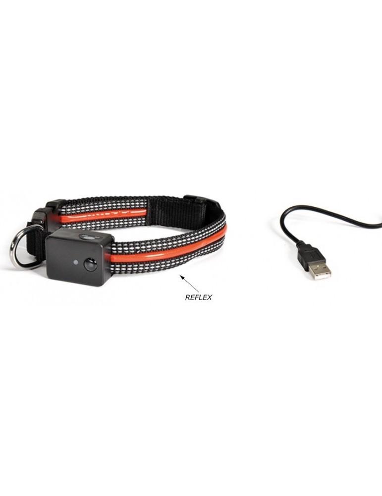 Black Reflective Dog Collar with USB Charging