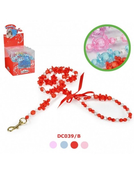 Stylish leash with pearls & flowers
