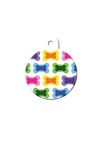 Large Colorful Circle ID Tag with Bones