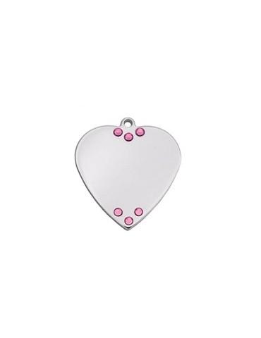 Ταυτότητα καρδιά μικρή με 6 ροζ πέτρες