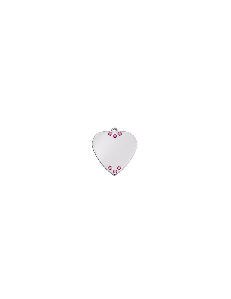 Heart ID Tag with 6 rhinestones