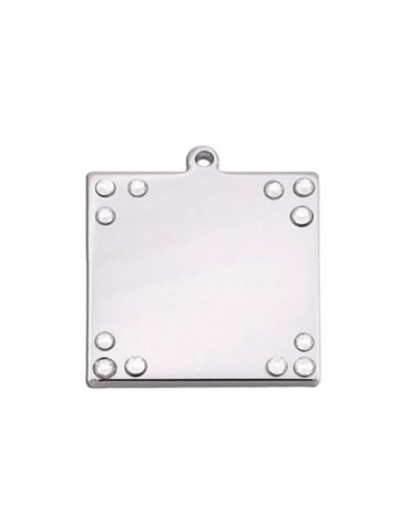 Square ID Tag with Rhinestones