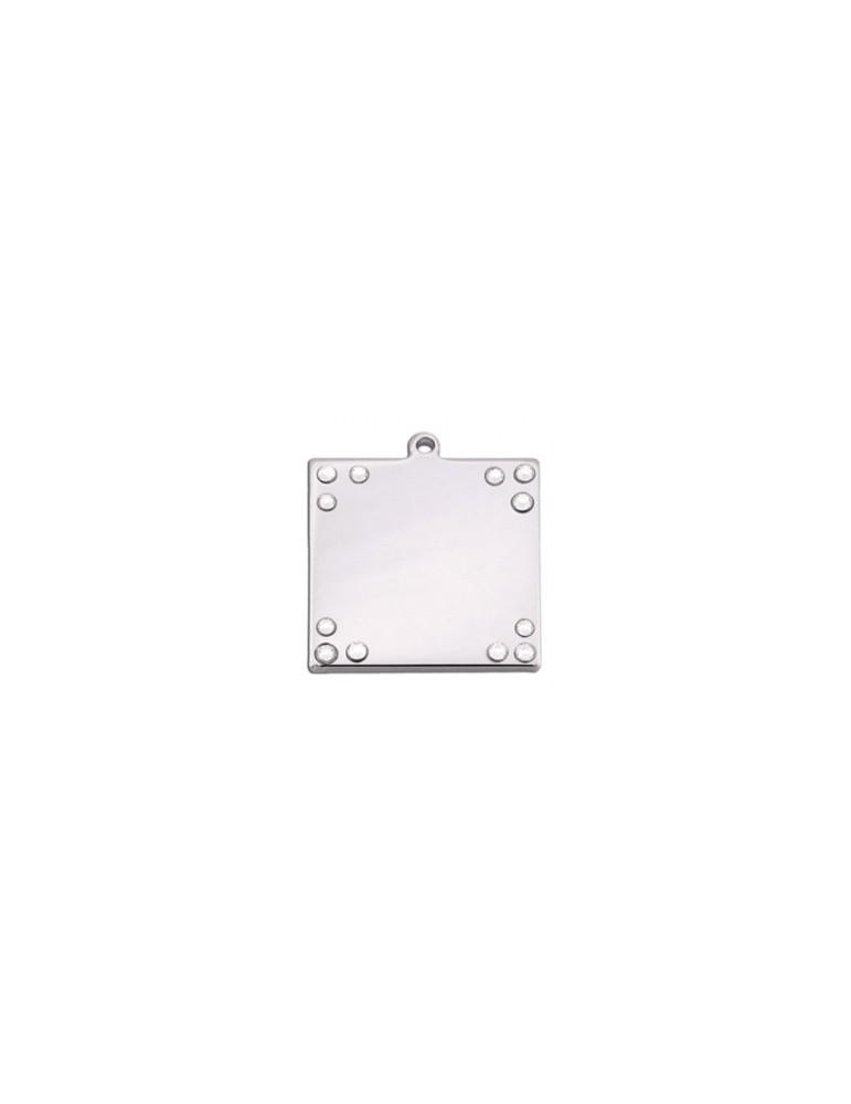 Square ID Tag with Rhinestones
