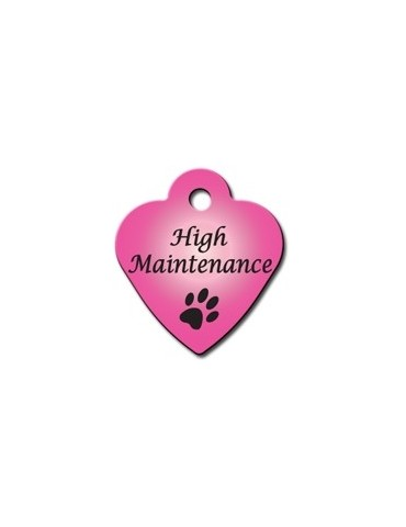 "Small Pink Heart Tag with ""High Maintenance"""
