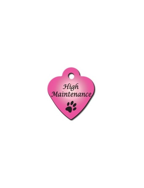 """Small Pink Heart Tag with """"High Maintenance"""""""