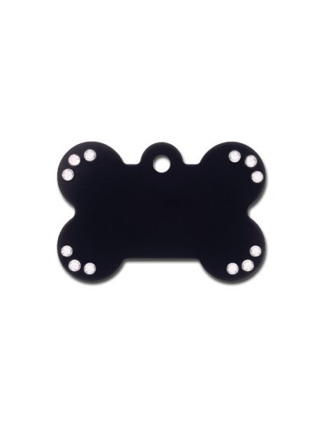 Black Anodized Bone ID Tag with Clear Stones