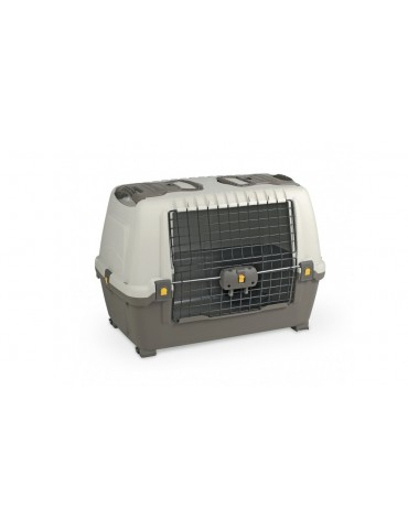 Pet carrier with metallic door