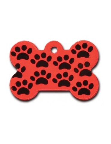 Large Red Bone ID Tag with Paws