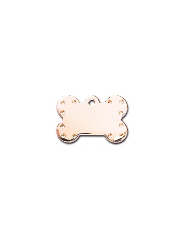 Large Rose Gold Bone ID Tag with Aurora Stones