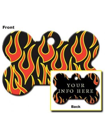Black Bone ID Tag with Flames
