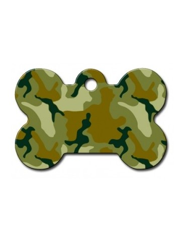 Large Green Camouflage Bone ID Tag