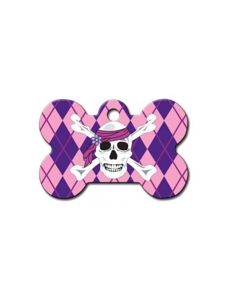 Pink Argyle Bone ID Tag with White Skull