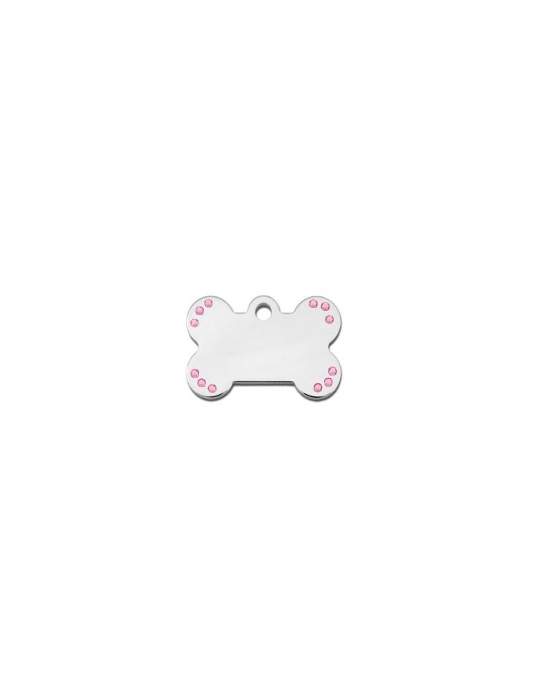 Small Bone ID Tag with Pink Stones