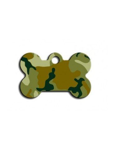 Small Green Camouflage Bone ID Tag
