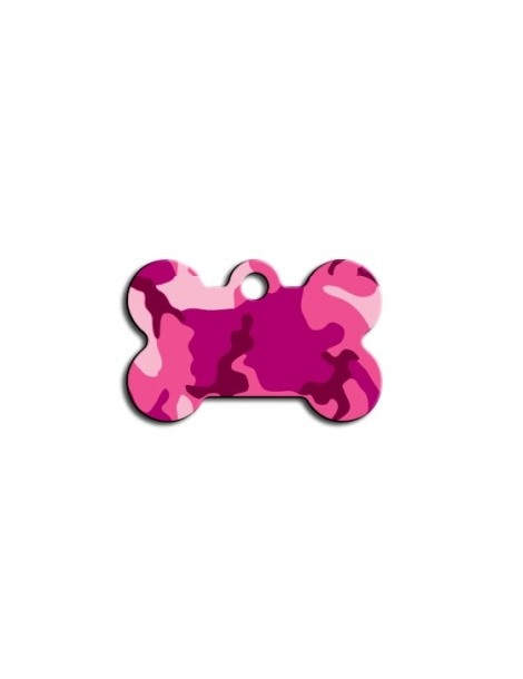 Small Pink Camouflage Bone ID Tag