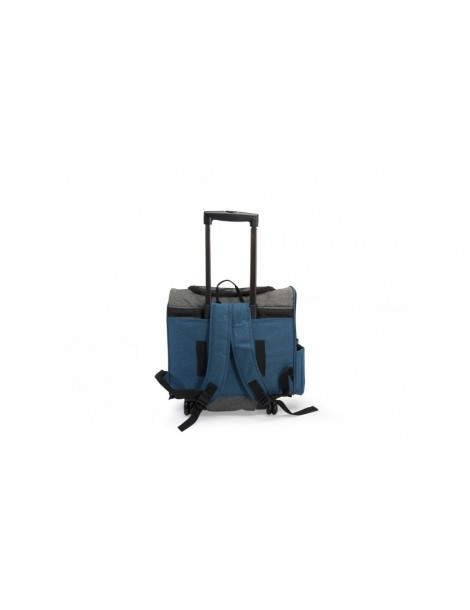 Blue and grey pet carrier with 2 front pockets