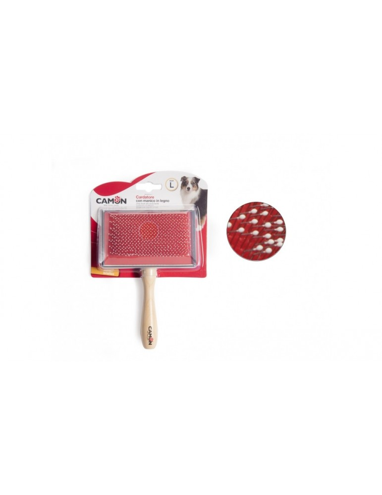 Slicker Brush with Wooden Handle L