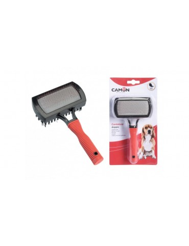 "Plastic double slicker brush with ""soft grip"" handle"