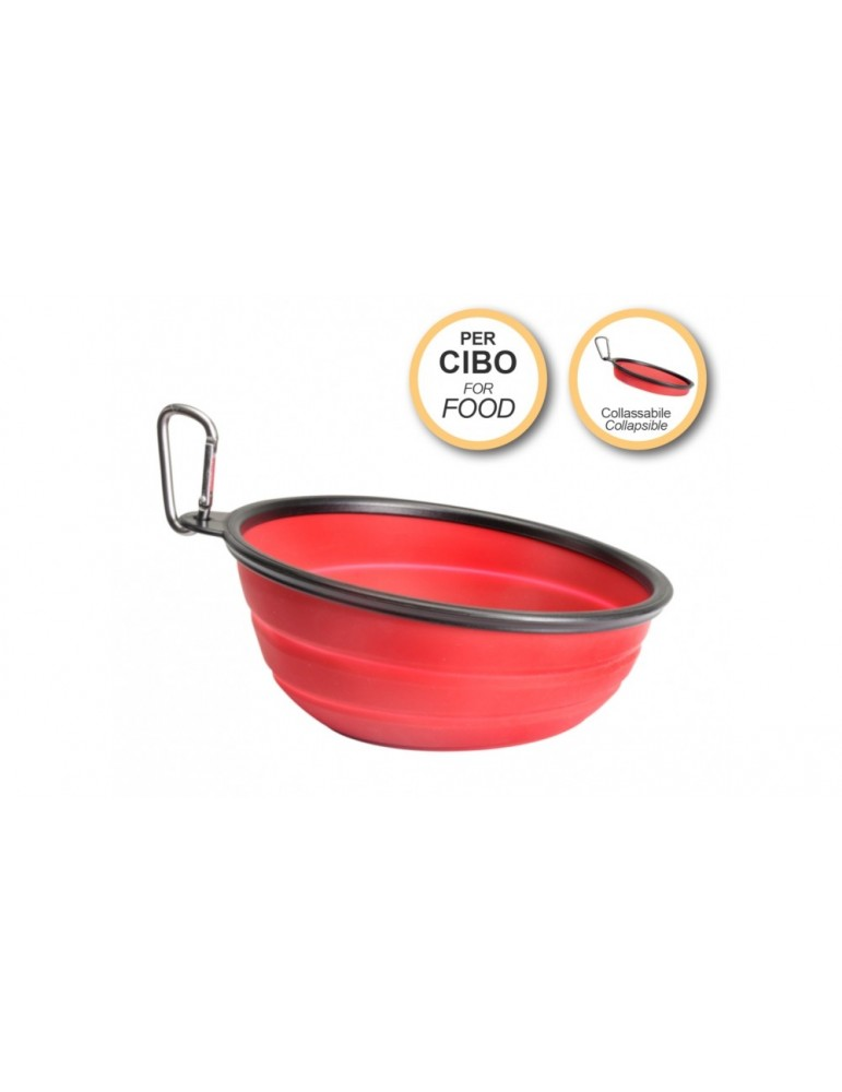 Collapsible slanted travel bowl for food