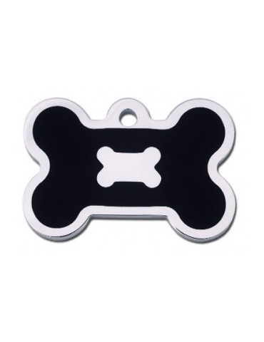 Chrome Bone ID Tag with Black Epoxy