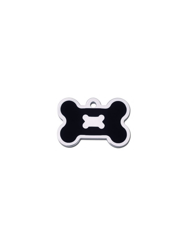 Chrome Bone ID Tag with Black Epoxy
