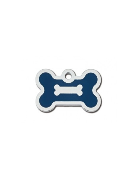 Chrome Bone ID Tag with Blue Epoxy