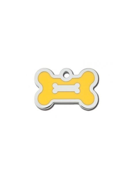 Chrome Bone ID Tag with Yellow Epoxy