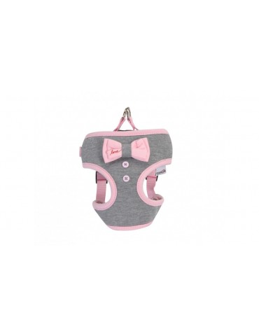 """Grey Harness With Pink Bow """"Love"""""""