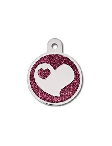 Large Circle Epoxy Glitter w/ Heart