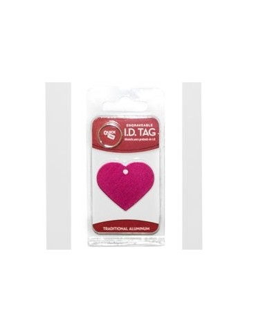 Pink ID Heart Shape Tag Large Anodized