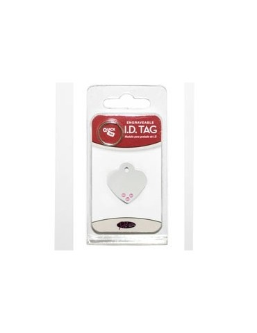 Heart ID Tag Small with Pink Stone