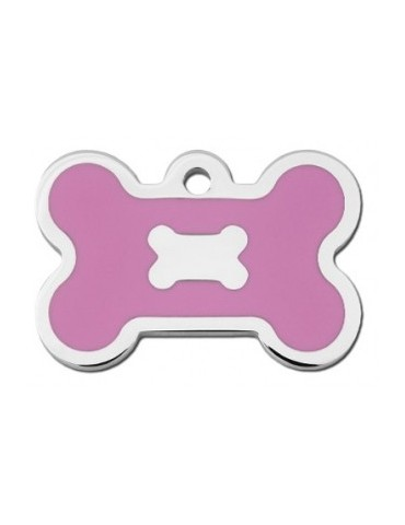 Chrome Bone ID Tag with Pink Epoxy