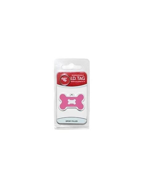 Chrome Bone ID Tag with Pink Epoxy