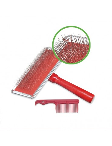Chrome-plated slicker brush with small comb
