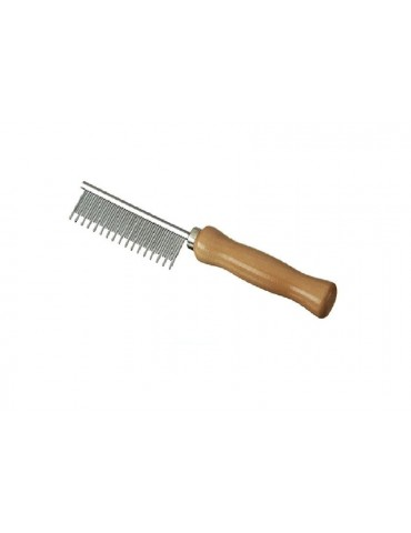 Cat comb with wooden handle and alternating teeth