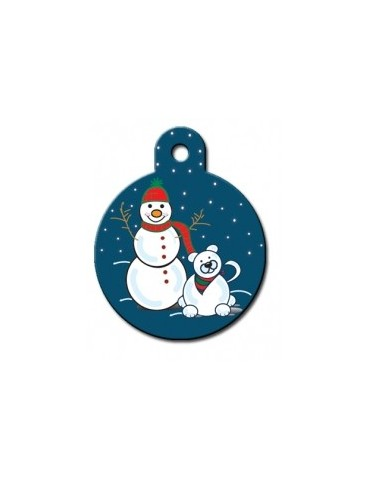 Large Circle ID Tag with with Snowman