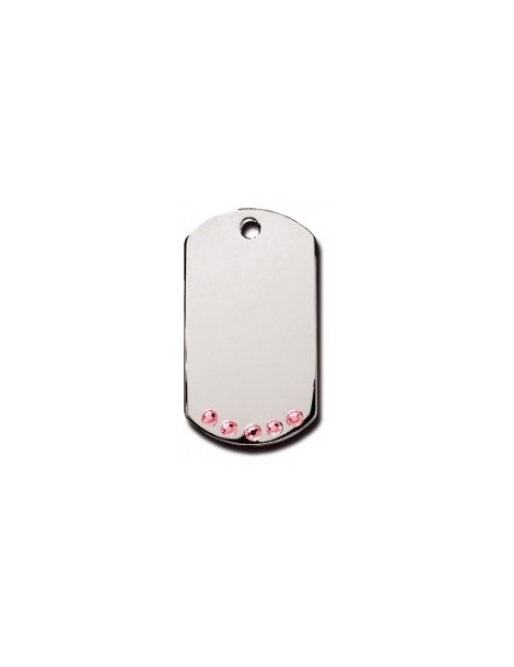 Chrome Military ID Tag with Pink Stones