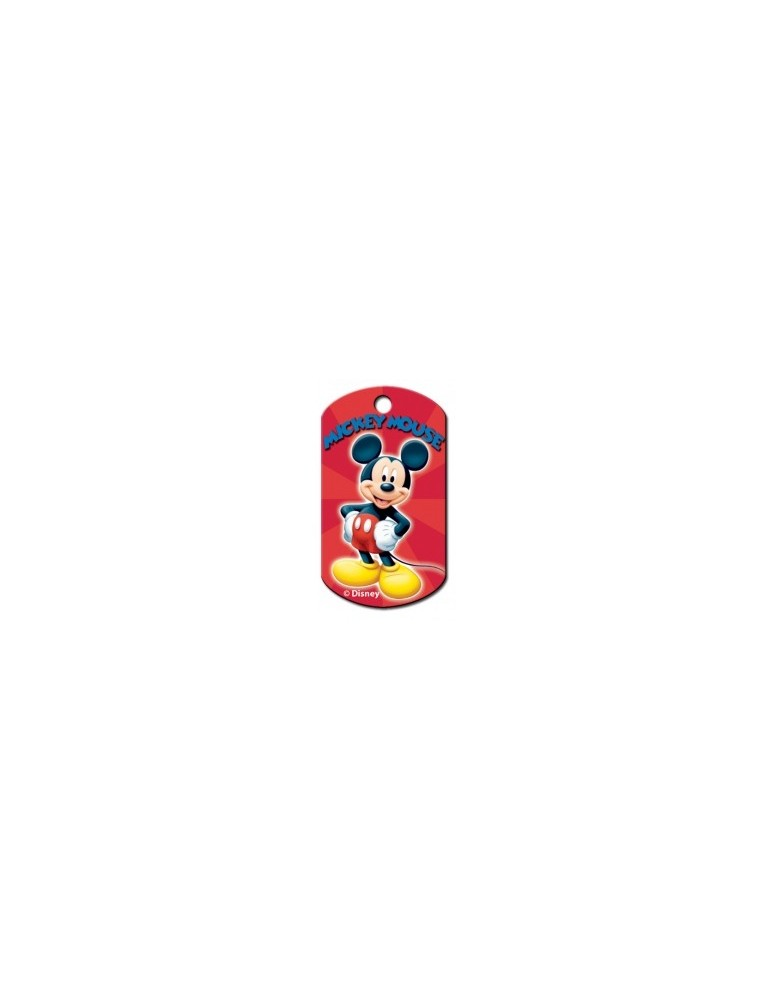 Chrome Military ID Tag with Mickey