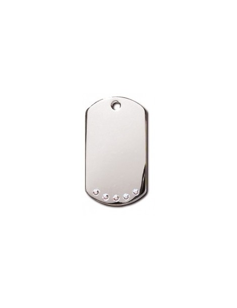 Chrome Military ID Tag with Clear Stones