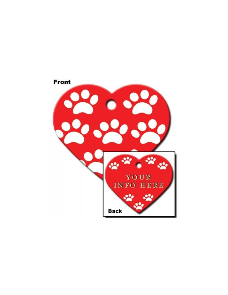 Heart ID Tag Large with Paws
