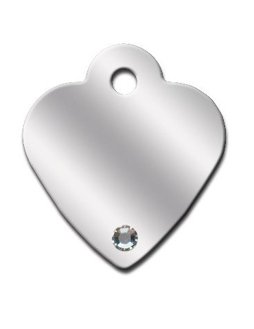Heart ID Tag Small with Aurora Stones
