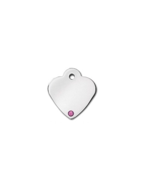 Heart ID Tag Small with Amethyst Stone - February