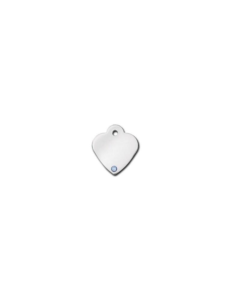 Ταυτότητα καρδιά μικρή με πέτρα Aquamarine- Μάρτιος